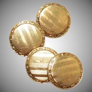 Vintage Art Deco Solid 10k Yellow Gold etched Unisex Cufflinks