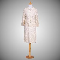 Vintage 1960s White Ribbon Embroidered Skirt and Jacket Ensemble