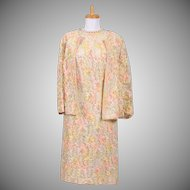 Vintage 1960s Embroidered Pastel Ribbon on Cream Lace Dress and Jacket Ensemble