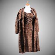 Vintage 1950s Custom made Brown Silk Brocade Dress and Matching Coat Ensemble