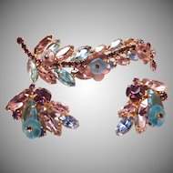 Signed Alice Caviness Vintage Blue and Purple Rhinestone Costume Jewelry Set
