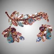 Signed Alice Caviness Vintage Blue and Purple Rhinestone Costume Jewelry Set