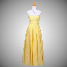 Vintage 1950s Yellow Poly-blend Floral Flocked Strapless Evening Gown