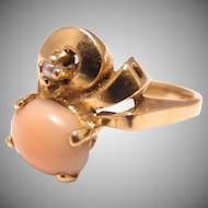 Gorgeous 14K Gold Angel Skin Coral and Pearl ring Size 6 7/8