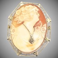 Antique Carved Shell Cameo Brooch or Pendant with 14k White Gold Frame and Initial Necklace