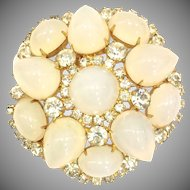 Vintage KJL Kenneth J Lane Rhinestone and Glass Brooch Pin for a Bride Weddings