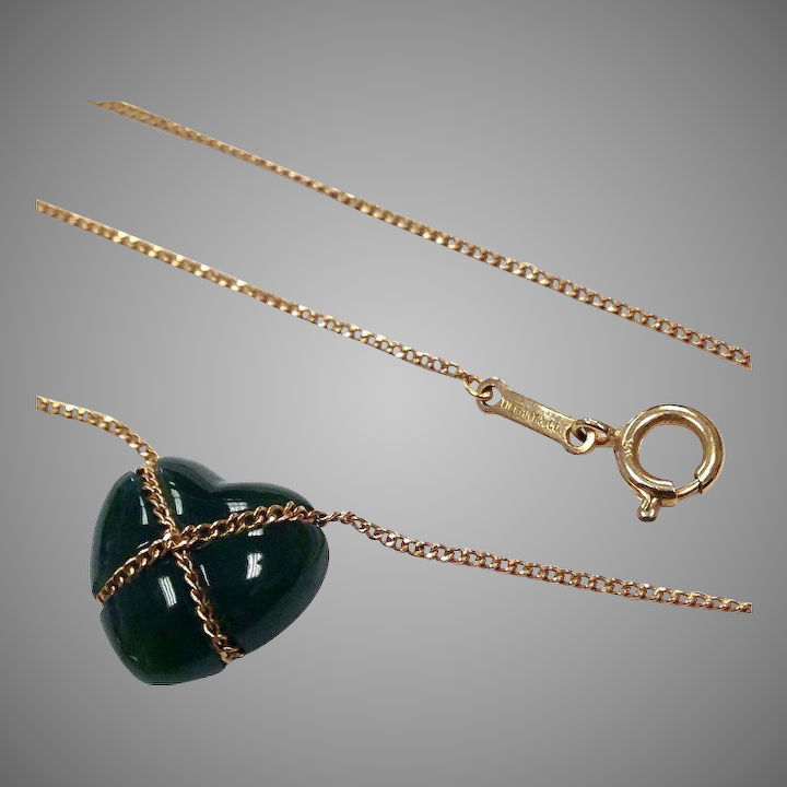 fd6095e97 Tiffany & Co. 14K Yellow gold and Green jade Heart necklace ...