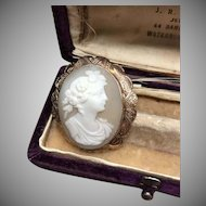 Antique 9k yellow gold, tan, and ivory carved shell cameo pin or pendant
