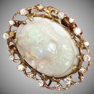Rare Giant Opal carved cameo 14k yellow gold ring with diamonds