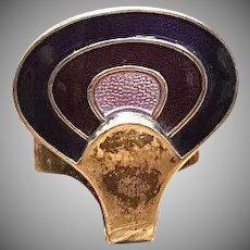 Vintage signed designer David Andersen purple violet enamel and sterling silver ring from Norway Scandinavian Modernist sterling ring