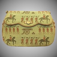 Vintage 1950s Henri Betrix New York chenille tapestry purse with colonial soldier horse and cannon motif