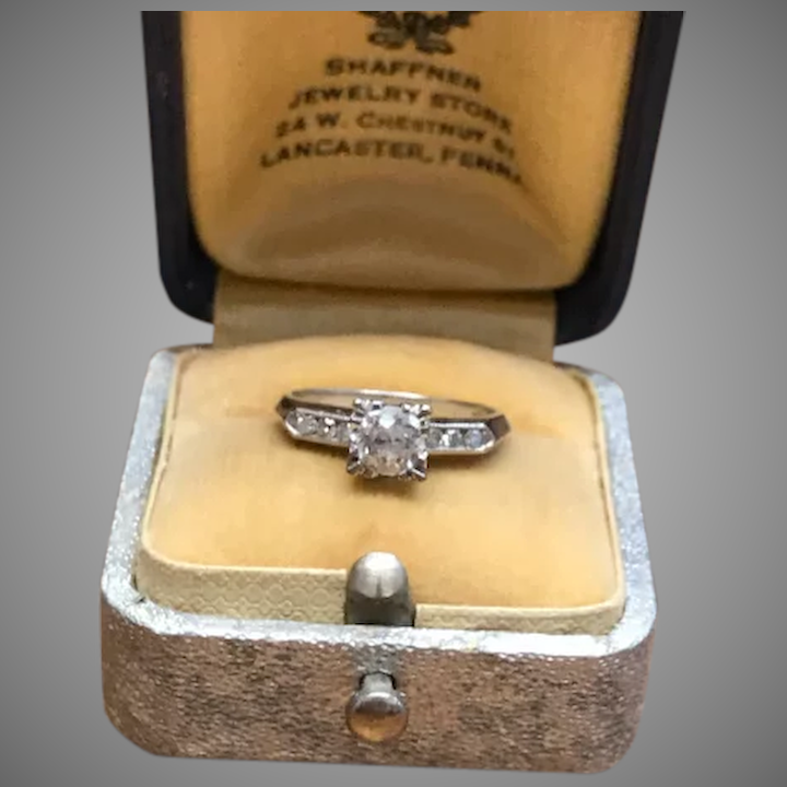 2dd20b0412 Vintage .5 carat diamond 14k white gold ring with 3 side stones and :  Malena's Vintage Boutique | Ruby Lane