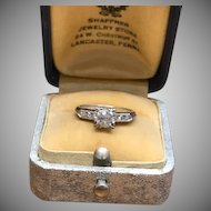 Vintage .5 carat diamond 14k white gold ring with 3 side stones and milgrain details engagement ring wedding ring
