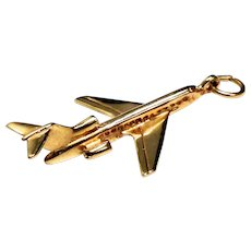 14k solid yellow gold rare LARGE airplane pendant or charm pilot or flight attendant