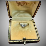 Vintage diamond engagement ring two tone Art Deco 3 stone diamond ring with white gold setting and yellow gold band