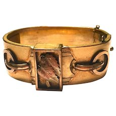 Antique Victorian Raised Relief Rose Gold Leaf and Buckle Hinged Bangle Bracelet