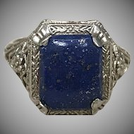 Antique Art Deco 14k white gold filigree ring with blue lapis stone and flowers
