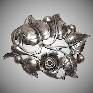1950s Sterling Silver Black Starr & Gorham by Gini Flower and Leaf Brooch