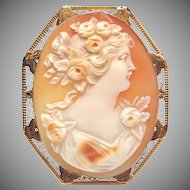 Solid 14k Yellow Gold Real Carved Shell Cameo Pin or Pendant