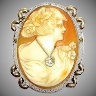 Vintage 14K white gold signed cameo pendant  or pin with diamond necklace
