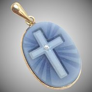 Vintage 10k yellow gold and onyx blue cameo cross Pendant