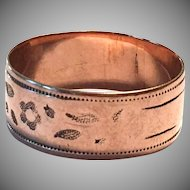 Antique Victorian 9k Rose Gold Cigar Band Size 8.5 Ring