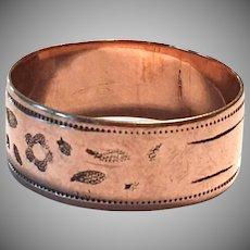 Antique Victorian 9k Rose Gold Cigar Band Size 8.5 Ring