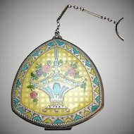 Antique 1920s Guilloche Enamel compact with ring