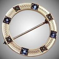 Antique 14k Rose Gold Seed Pearl Sapphire Wreath Pin