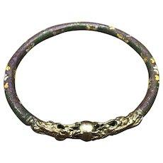 Beautiful vintage 1940s Chinese cloisonné double dragon purple and gold tone bangle bracelet