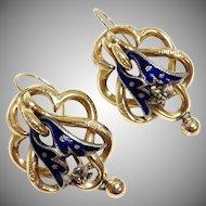 Antique 14K yellow gold blue enamel sterling silver repoussé pierced earrings