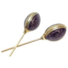 Antique signed 14k yellow gold Guilloche enamel Egg matching hat pins 7 inches long