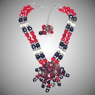 1960s Signed Hoebe Red and Black Crystal, Rhinestone, and Poured Flower Glass Necklace