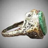 Antique 1920s 14K white gold and yellow gold filigree ring with green aventurine jade like stone disc