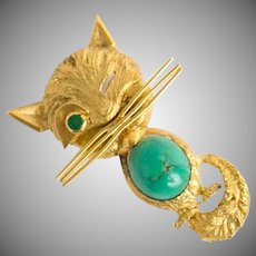 Vintage 18k yellow gold, green turquoise, and emerald novelty winking cat brooch