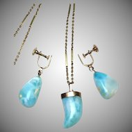 14k solid yellow gold and blue Larimar stone necklace and screw back earrings matching set