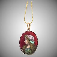 Antique A.S Antoine Soustre Limoges 32 Enamel, Foil, Gold Gilded Lady Portrait Pendant