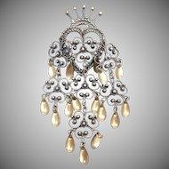 Vintage sterling silver Norwegian Luckenbooth wedding bridal brooch pin