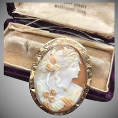 Vintage Carved shell Cameo Brooch marked 14k with wide etched border and hinged loop