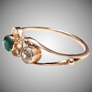 Modernist 14k Stick pin Conversion Ring with green and clear crystal Stones