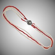 Vintage Multi Strand small pearl and red coral necklace with silver clasp