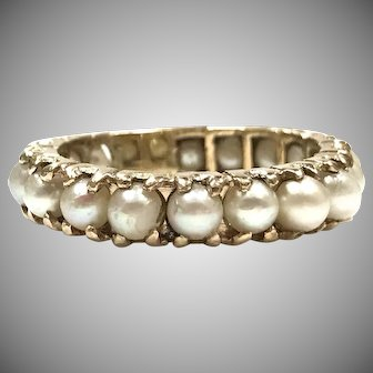 Vintage 1960s 14k Yellow Gold Round Pearl Infinity Band Ring