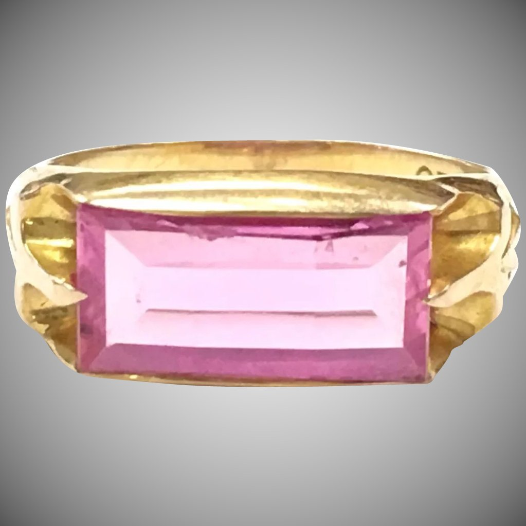 Vintage Ostby Barton 10k Yellow Gold Ring with oblong Pink Stone ...