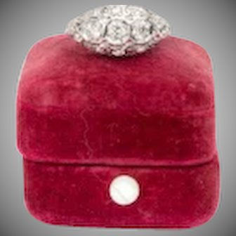 Antique 1920s 1930s Platinum Diamond Engagement Ring Three Old European Cut Diamonds Art Deco Filigree Detail Pave Diamonds Appraised Gatsby