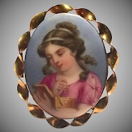 Antique Victorian Painted Porcelain Portrait of Girl with Pearls in Jewelry Box