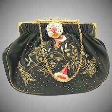 Vintage 1950s collectible embroidered black satin purse with beaded frame and closure