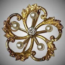 Antique Victorian 14k Yellow Gold Diamond and Pearl Love Knot Pin Pendant