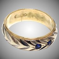 Beautiful vintage 14K white and yellow gold band with two sapphires