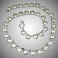 Antique Art Deco sterling silver signed faceted rock crystal necklace and prong setting