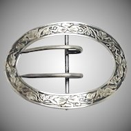 Antique sterling silver signed sash belt buckle with art nouveau floral design